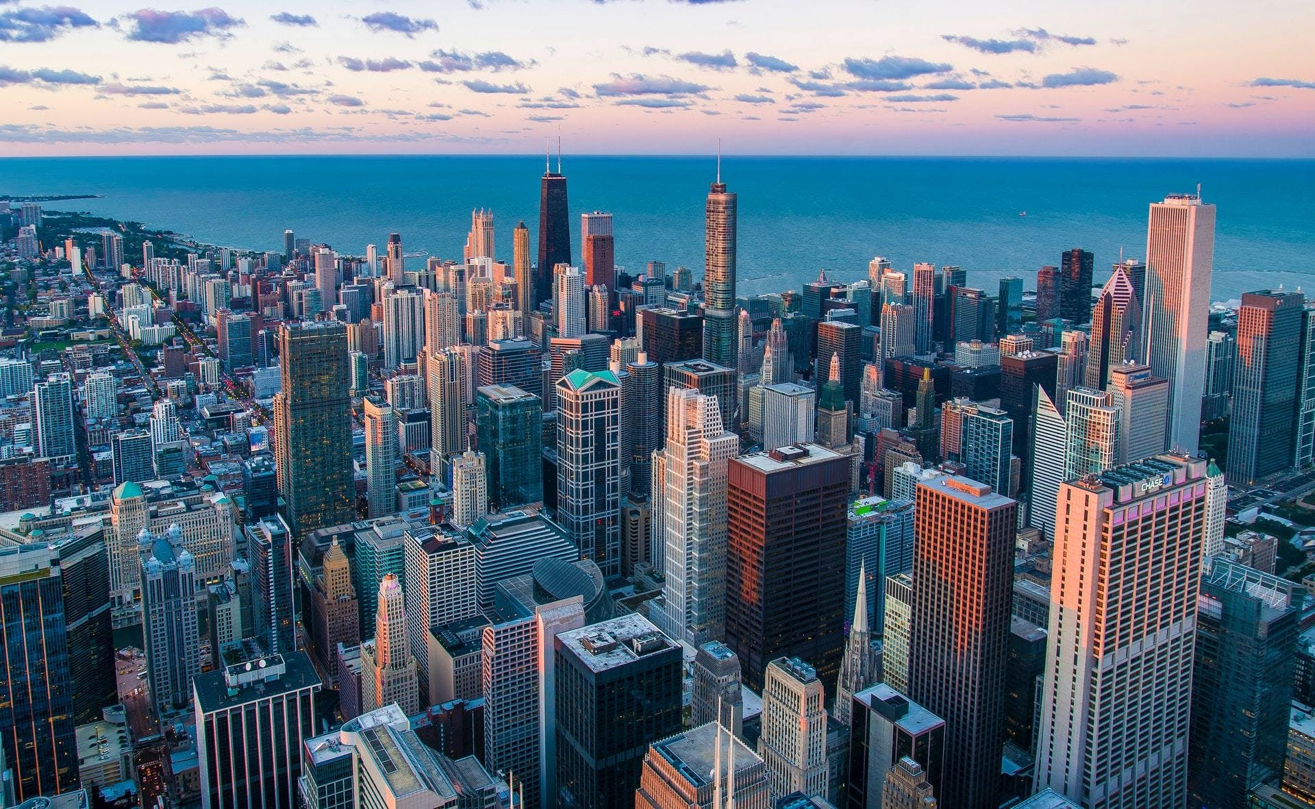 Chicago skyline with Lake Michigan in the background